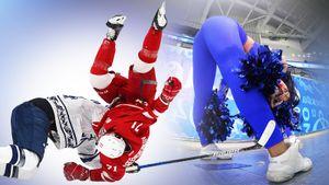 Сексуальный танец горячей чирлидерши, летающий вверх тормашками хоккеист: мощные фото матча КХЛ