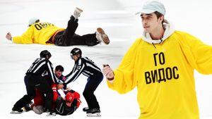 Блогер-хулиган прорвался на лед прямо во время дерби, хоккеисты дрались до крови. «Спартак»— ЦСКА: фото