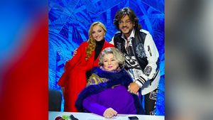 Навка выложила фото с Тарасовой и Киркоровым со съемок «Ледникового периода»: «Судить чемпионов — нелегкая работа»