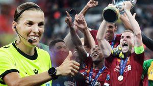 Женщина-судья, бисиклета Жиру и счастье «Ливерпуля». Главные фото матча за Суперкубок УЕФА