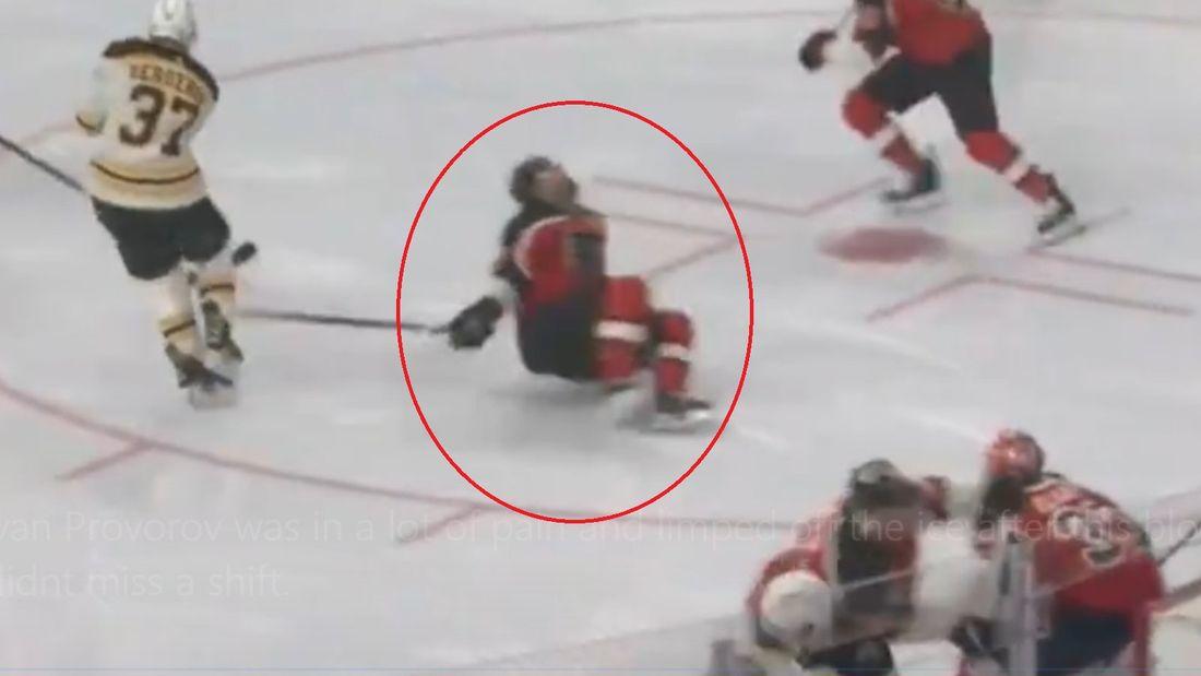 Американцы оценили мужество русского хоккеиста. Проворов рухнул на лед от попадания шайбой, но сразу продолжил игру