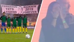 Жена умершего экс-игрока «Зенита» Риксена расплакалась натрогательной церемонии впамять омуже
