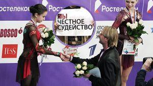 Баннер «Я/Мы честное судейство» и общение Плющенко с ученицами Тутберидзе. Что происходило на Кубке России в Москве