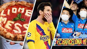 Реакция накитайских фанатов натрибуне иитальянская пицца для Месси. «Наполи»— «Барселона»: фото