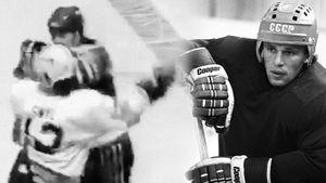 Знаменитая драка советского хоккеиста Фетисова. Канадец поставил его на колени, помочь не смог даже друг Касатонов