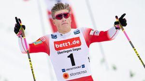 Клэбо с переломом выиграл спринт в гору на «Ски Туре». Норвежец Крюгер испортил гонку Большунову