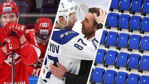 Как коронавирус изменил хоккей. Главные фото матча «Спартак»— «Динамо», накоторый запретили приходить болельщикам