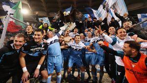 Гол после прохода сцентра поля ипразднование сорлом. «Лацио» в7-й раз выиграл Кубок Италии