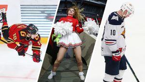 Откровенные наряды чирлидерш, отчаяние Мозякина, взлетевший надо льдом хоккеист. «Авангард» — «Металлург»: фото