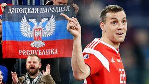 Флаг ДНР, мирный ОМОН и Семак с женой на трибуне. Россия — Бельгия: фото