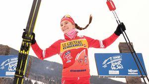 Русская лыжница Непряева удрала от соперниц за 500 метров до финиша и выиграла масс-старт на «Тур де Ски»