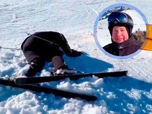 Слуцкий покатался нагорных лыжах. Без падения необошлось