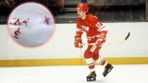 Знаменитый гол советского хоккеиста Харламова. Канадец бил его по ногам, но не помешал красиво забить на Суперсерии