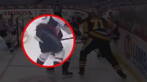 Грязный прием русского хоккеиста Малкина в матче против «Вашингтона». Он ударил соперника клюшкой между ног: видео