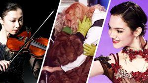 Объятия Тутберидзе и Тарасовой, Медведева — Каренина, Турсынбаева играла на скрипке. Фото шоу «Чемпионы на льду»