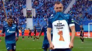 Дзюба после гола «Ротору» поздравил сына с днем рождения: видео