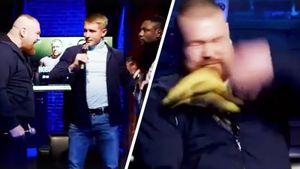 Скандальный Дацик возвращается в бои. Дарит бананы темнокожему сопернику Тайсону и рычит на него