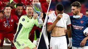 Слезы «Севильи», 20 тысяч на трибунах, «Бавария» веселится с 4-м трофеем за год. Суперкубок Европы: фото