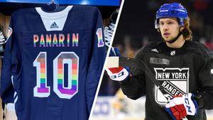 В США выставили на аукцион свитер Панарина с элементами флага ЛГБТ: фото