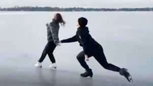 Прокат дочери Тутберидзе Дианы Дэвис и ее партнера Глеба Смолкина на льду замерзшего озера в Мичигане: видео