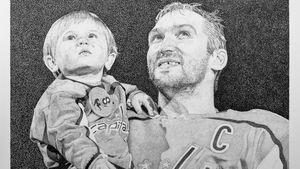 Художник выполнил эффектный точечный портрет Овечкина с сыном
