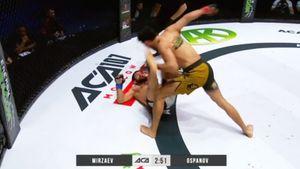 Расул Мирзаев снова проиграл. Арман Оспанов нокаутировал его на ACA в Казахстане за 2,5 минуты