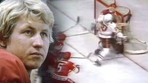 Знаменитая потасовка в матче СССР — Канада. Разозлившийся игрок «Кленовых листьев» уложил на лед вратаря Мышкина