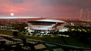 Посмотрите, как сейчас выглядит стадион финала ЧМ-2022 вКатаре. Вместит больше, чем «Лужники»