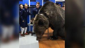 Раздевалку «Сахалинца» посетил дрессированный медведь