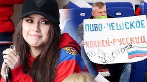 Загитова болела за наших, фанаты вывешивали флаг СССР и баннер про пиво. Фото победы России над Чехией