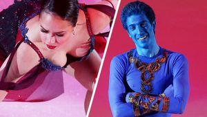 Загитова падала на радость публике, грузин Квителашвили примерил образ синего Джина. Главные фото шоу фигуристов