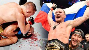 Петр Ян разбивает Альдо, забирает пояс UFC и выносит флаг России в клетку. Главные фото победы русского чемпиона