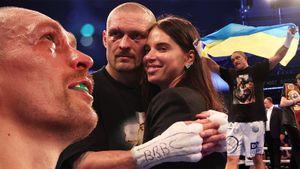 Усик прошелся по Джошуа в ринге, заплакал от счастья после боя, поднял флаг Украины и обнялся с женой: фото