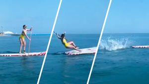 Аделина Сотникова упала во время первой в жизни попытки прокатиться на доске для серфинга: видео