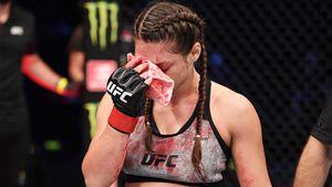 Девушка-боец из «Ахмата» проиграла в UFC по решению врача. Джоджуа просила не останавливать бой из-за рассечения