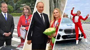 Путин награждал, Бацарашкина катала Медведева, Ахаимова прыгала от счастья. Олимпийцы в гостях у президента: фото