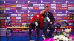 Эмоции тренера Медведевой во время победной короткой программы в Москве засняли на видео