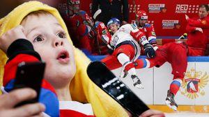 Хмурый Знарок, красавица с«пушкой», жесткая хоккейная рубка. Фото матча Россия— Чехия