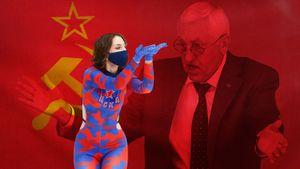 Двойник Ленина с флагом СССР, негодование легендарного Михайлова, воздушный поцелуй чирлидерши. Фото финала КХЛ