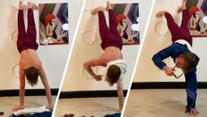 Ягудин оделся, стоя на руках, гимнасты снимали с себя одежду: спортсмены приняли «вызов Человека-паука»