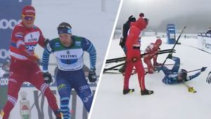 Главный русский лыжник Большунов психанул на финише — замахнулся палкой и сбил соперника с ног. Команду сняли