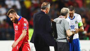 Армянский Макгрегор забил Италии Манчини, нобыл удален после симуляции Бонуччи. Это боль!