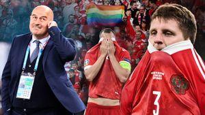 Российского фаната скрутили на поле, футболисты переживали вылет с Евро: фото поражения в Дании