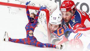 Чирлидерша уселась на шпагат на льду, игрока СКА впечатали лицом в штангу, Тимченко развел руками перед Шойгу: фото