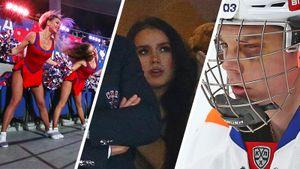Загитова смотрела хоккей из-за спины Ротенберга, на трибунах вывесили советский баннер. Фото дерби ЦСКА–СКА