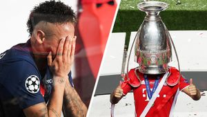 Неймар плакал, игроки «Баварии» дурачились с трофеем. Фото финала Лиги чемпионов
