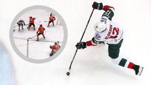 Самый футбольный гол сезона вКХЛ. Хоккеист «АкБарса» слету закинул шайбу зашиворот вратарю