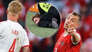 «Хотел добежать до игрочишки». Болельщик сборной России рассказал, зачем пытался выбежать на поле в матче с Данией