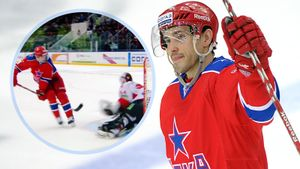 Знаменитый гол русского хоккеиста Дацюка. Он обманул канадского вратаря Гарнетта, забив ему из-за спины: видео