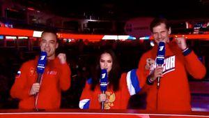 Загитова эмоционально поддержала хоккеистов сборной России в прямом эфире Первого канала: видео